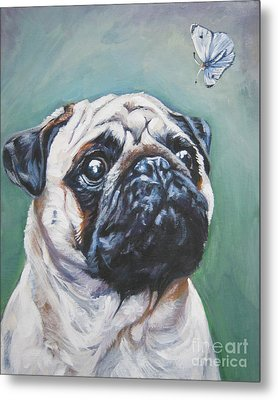 Pug With Butterfly Metal Print