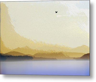 Puget Sound - Sunset Mist  Metal Print by Steve Ohlsen