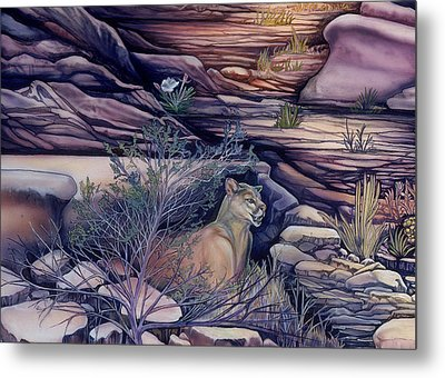 Puma In The Desert Metal Print by Sevan Thometz