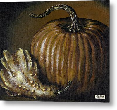 Pumpkin And Winged Gourd Metal Print