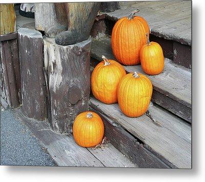 Pumpkin Autumn In Adirondacks Metal Print by Kate  Leikin