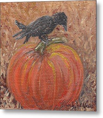 Pumpkin Crow Metal Print