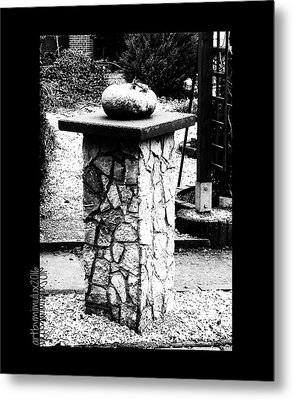 Metal Print featuring the photograph Pumpkin On A Pedestal by Mimulux patricia no No
