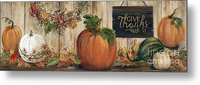 Pumpkin Panel Metal Print by Marilyn Dunlap