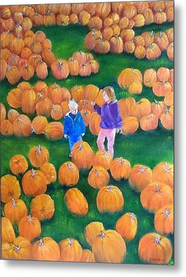 Metal Print featuring the painting Pumpkin Patch by Ellen Canfield