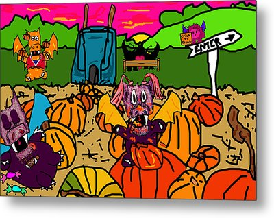 Pumpkin Patch Metal Print by Jera Sky