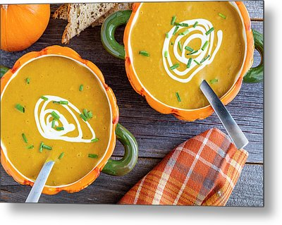 Pumpkin Soup In Pumpkin Bowls Metal Print