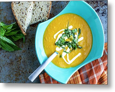 Pumpkin Squash Soup In Blue Metal Print