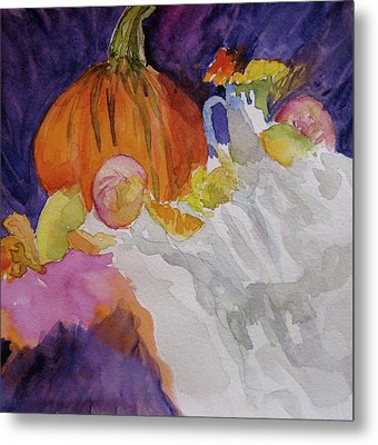 Metal Print featuring the painting Pumpkin Still Life by Beverley Harper Tinsley