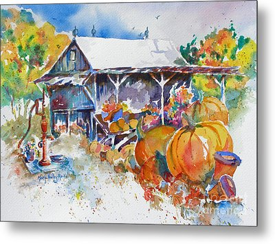 Metal Print featuring the painting Pumpkin Time by Mary Haley-Rocks