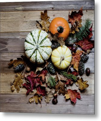 Metal Print featuring the photograph Pumpkins And Leaves by Rebecca Cozart