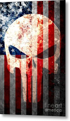 Punisher Skull And American Flag On Distressed Metal Sheet Metal Print