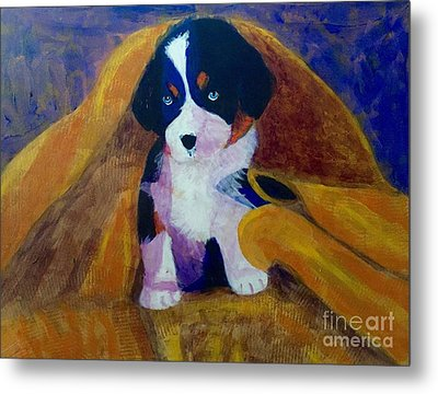 Metal Print featuring the painting Puppy Bath by Donald J Ryker III