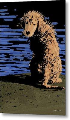 Puppy On Pier Pop Art Metal Print