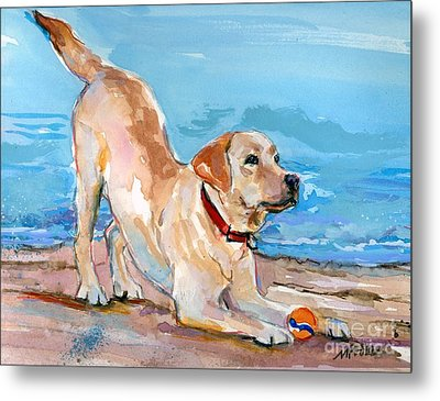 Metal Print featuring the painting Puppy Pose by Molly Poole
