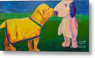 Metal Print featuring the painting Puppy Say Hi by Donald J Ryker III