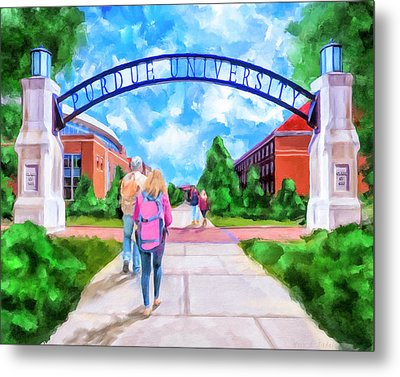 Metal Print featuring the mixed media Purdue University - Gateway To The Future Arch by Mark Tisdale