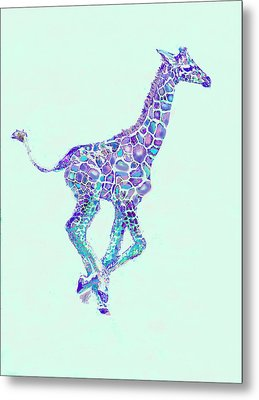 Purple And Aqua Running Baby Giraffe Metal Print by Jane Schnetlage