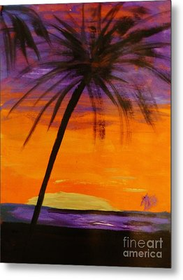 Purple And Orange Sky Metal Print by Marie Bulger