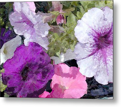 Purple And Pink Petunias Oil Painting Metal Print by Elaine Plesser