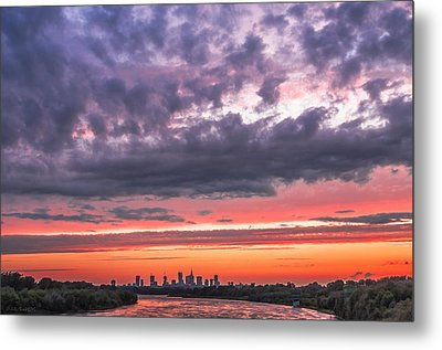 Purple And Red Sky Over Warsaw And Vistula River Metal Print
