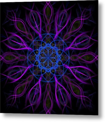 Metal Print featuring the photograph Purple Blue Kaleidoscope Square by Adam Romanowicz