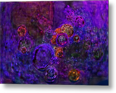 Purple Bubbles Painting Metal Print by Don  Wright