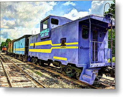 Purple Caboose Metal Print by Mel Steinhauer