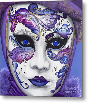 Purple Carnival Mask  Metal Print by Patty Vicknair