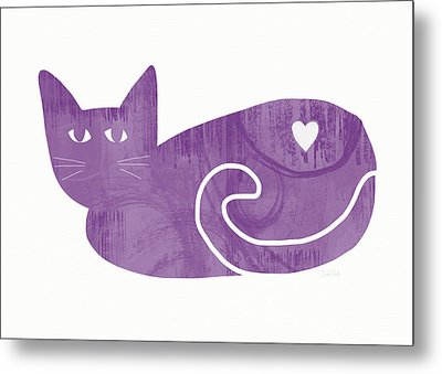 Purple Cat- Art By Linda Woods Metal Print by Linda Woods