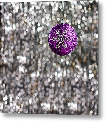 Metal Print featuring the photograph Purple Christmas Bauble  by Ulrich Schade