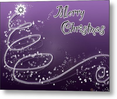 Purple Christmas Card Metal Print by Lisa Knechtel