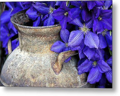 Purple Clematis And A Milk Can Metal Print by James Steele