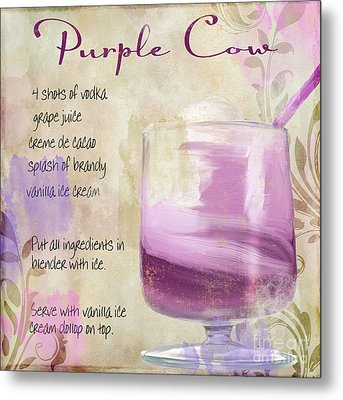 Purple Cow Mixed Cocktail Recipe Sign Metal Print by Mindy Sommers