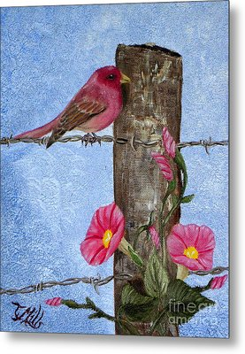 Metal Print featuring the painting Purple Finch And Morning Glories by Terri Mills