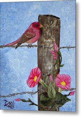 Purple Finch And Morning Glories Metal Print by Terri Mills