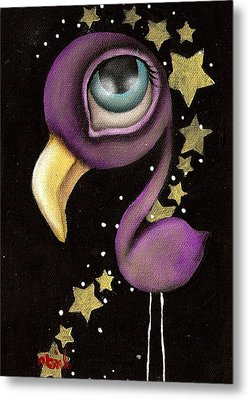Purple Flamingo Metal Print by  Abril Andrade Griffith