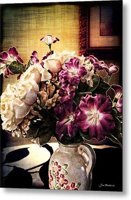 Purple Floral Arrangement Metal Print by Joan  Minchak