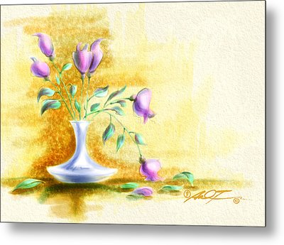 Purple Flowers In Vase Metal Print