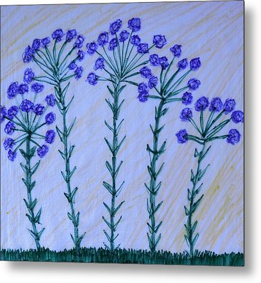 Purple Flowers On Long Stems Metal Print