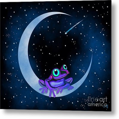Metal Print featuring the painting Purple Frog On A Crescent Moon by Nick Gustafson