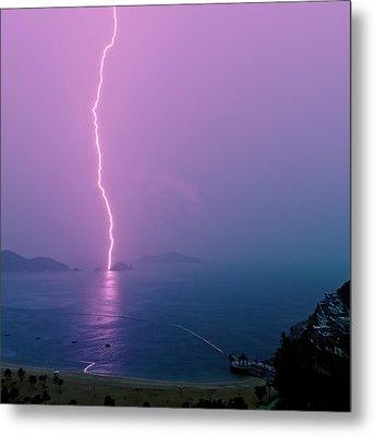 Purple Glow Of Lightning Metal Print