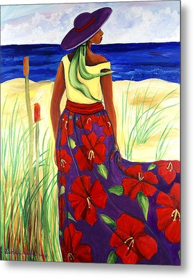 Metal Print featuring the painting Purple Hat by Diane Britton Dunham