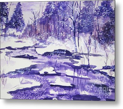 Metal Print featuring the painting Purple Ice On Kaaterskill Creek by Ellen Levinson
