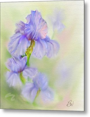 Metal Print featuring the painting Purple Iris by Bonnie Willis