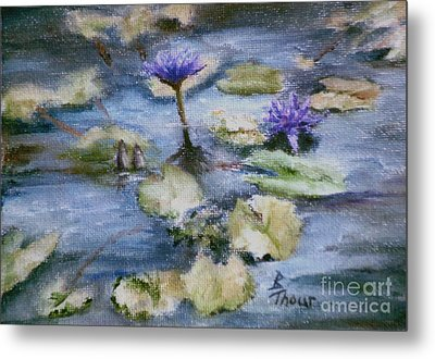 Metal Print featuring the painting Purple Lily by Brenda Thour