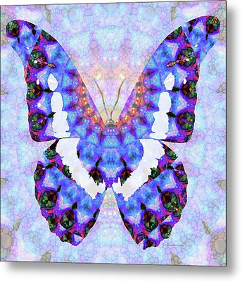 Purple Mandala Butterfly Art By Sharon Cummings Metal Print