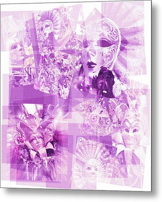Purple Mask Craziness Metal Print