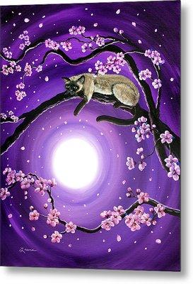 Purple Moonlight Sakura Metal Print