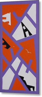 Purple Orange And White Metal Print